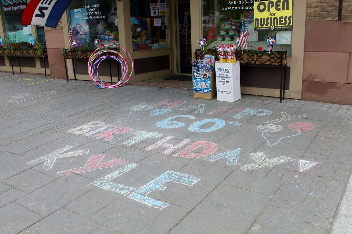 Nordica on Main Street participated in the festivities with a chalk message on the sidewalk.