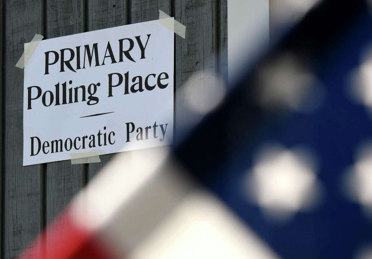 A sign is posted last year for the primary election at the Mt. Moriah Christian Academy polling station in Glenmont. Voting this year across the state will start June 12 and run to June 22. (Will Waldron/Times Union)