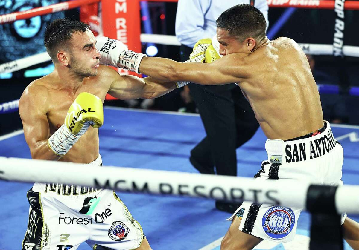 Andrew Moloney fights Joshua Franco during their WBA Super-Flyweight World Title fight at MGM Grand Conference Center Grand Ballroom on June 23, 2020 in Las Vegas, Nevada.