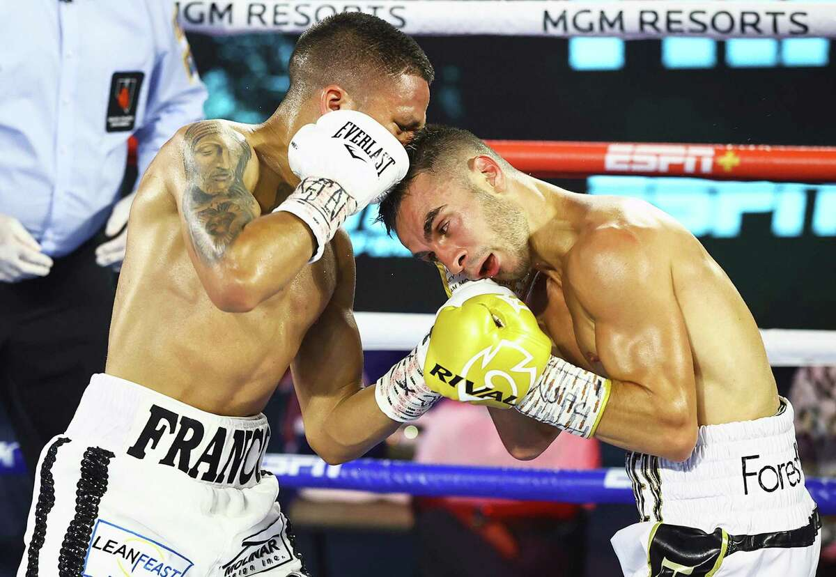 Joshua Franco punches Andrew Moloney during their WBA Super-Flyweight World Title fight at MGM Grand Conference Center Grand Ballroom on June 23, 2020 in Las Vegas, Nevada.
