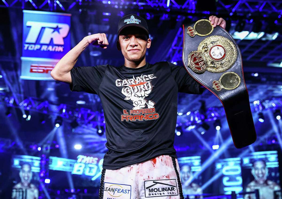 LAS VEGAS, NEVADA - JUNE 23: In this handout image provided by Top Rank, Joshua Franco poses after defeating Andrew Moloney (not pictured) in their WBA Super-Flyweight World Title fight at MGM Grand Conference Center Grand Ballroom on June 23, 2020 in Las Vegas, Nevada. (Photo by Mikey Williams/Top Rank via Getty Images)
