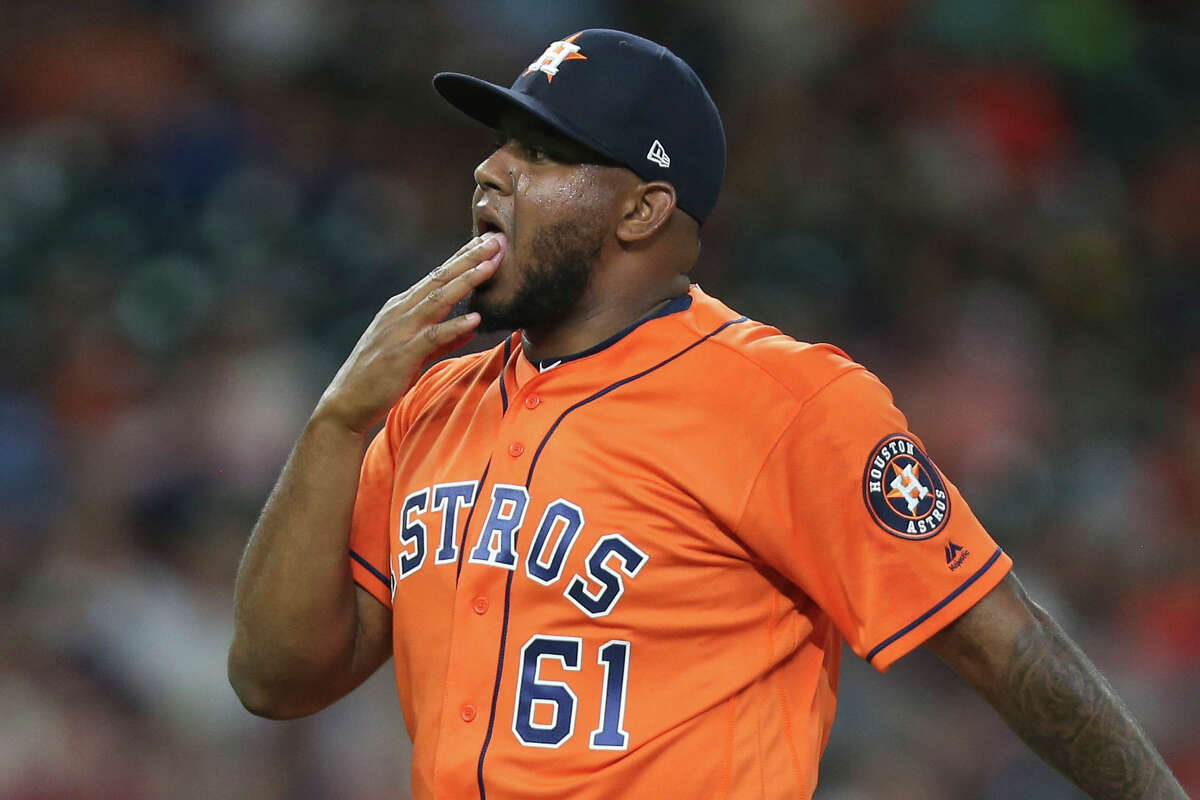 Pitchers licking their fingers between pitches, as Astros reliever Rogelio Armenteros did here during a 2019 game, is strictly prohibited by MLB during 2020 to curb the spread of COVID-19.
