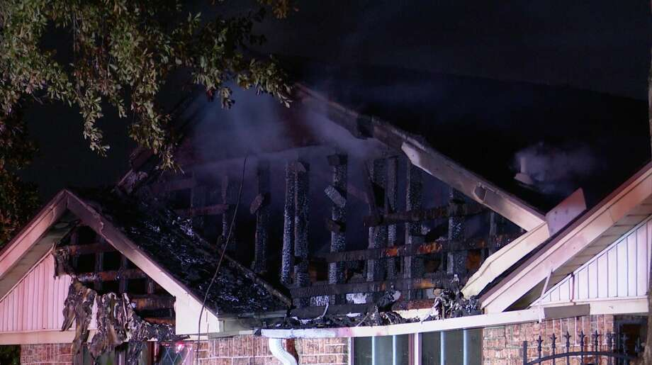 Houston firefighters work the scene of a house fire in the 8900 block of Wynmeadow Drive on Wednesday, June 24, 2020. Photo: OnScene.TV