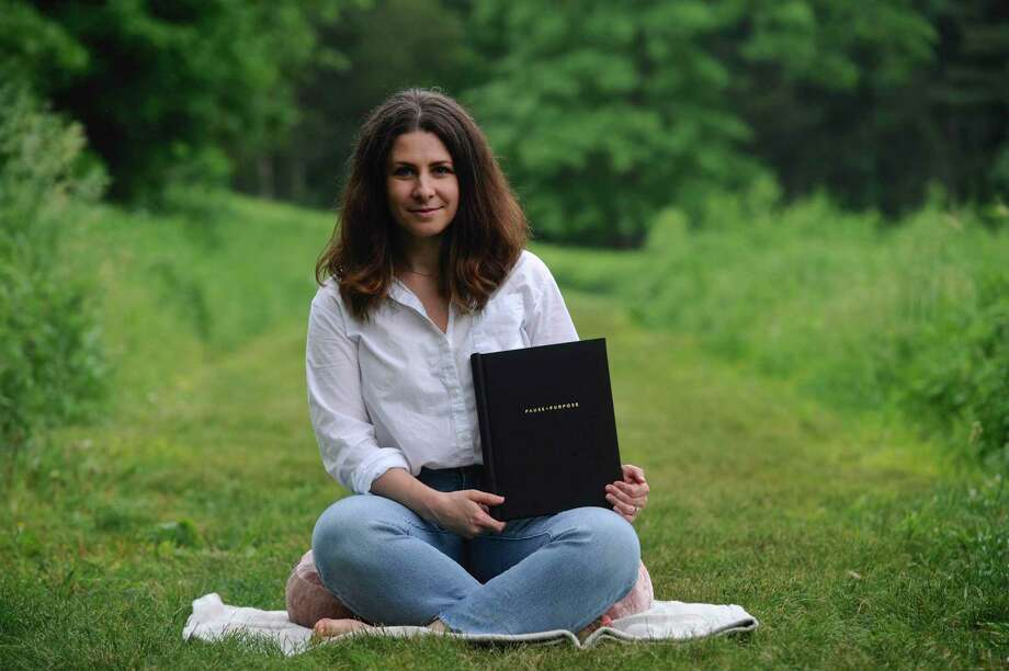 Emily Tuttle, of Wilton, is launching an on-line guided meditations program. Friday, June 5, 2020, in Schenck's Island Park, Wilton, Conn. Photo: H John Voorhees III / Hearst Connecticut Media / The News-Times