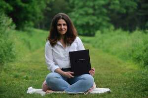 Emily Tuttle, of Wilton, is launching an on-line guided meditations program. Friday, June 5, 2020, in Schenck's Island Park, Wilton, Conn.