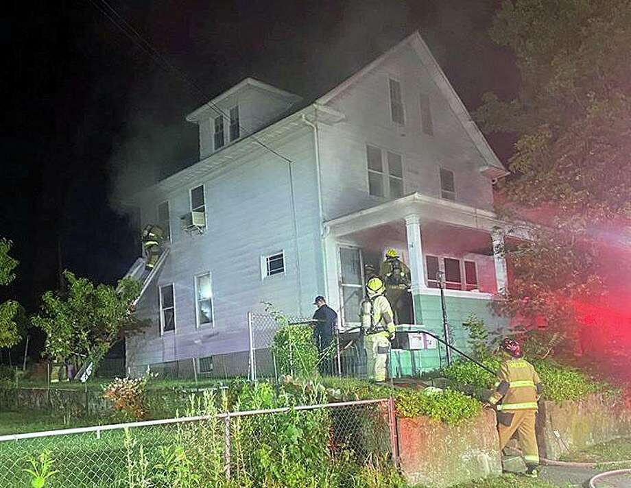 Five people - including three police officers - were hospitalized early Wednesday after a fire at a Hill Street home on June 24, 2020. Photo: Shelton Fire Department Photo