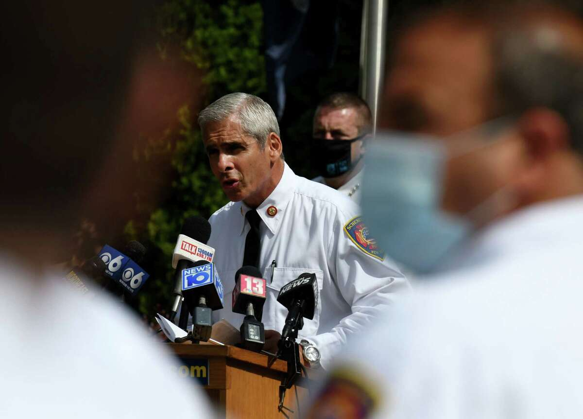 Schenectady Fire Chief Ray Senecal holds a joint news conference to address public safety and the rise of illegal fireworks use in the city on Wednesday, June 24, 2020, in Schenectady, N.Y. (Will Waldron/Times Union)