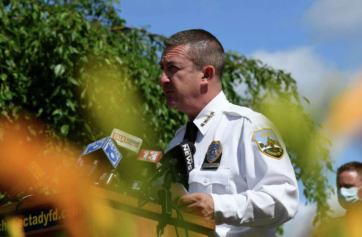 Schenectady Police Chief Eric Clifford holds a joint news conference to address public safety and the rise of illegal fireworks use in the city on Wednesday, June 24, 2020, in Schenectady, N.Y. (Will Waldron/Times Union)