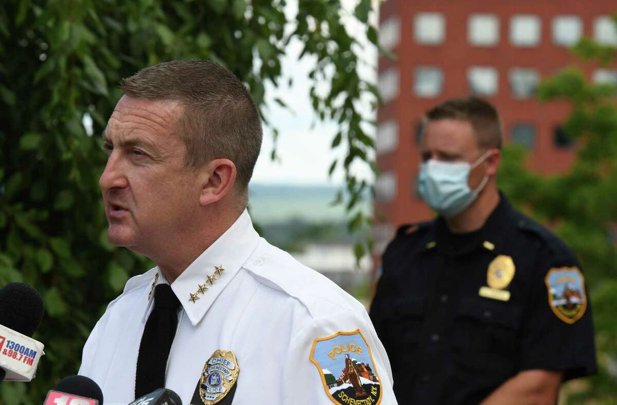 Schenectady Police Chief Eric Clifford on Wednesday, June 24, 2020, in Schenectady, N.Y. (Will Waldron/Times Union)