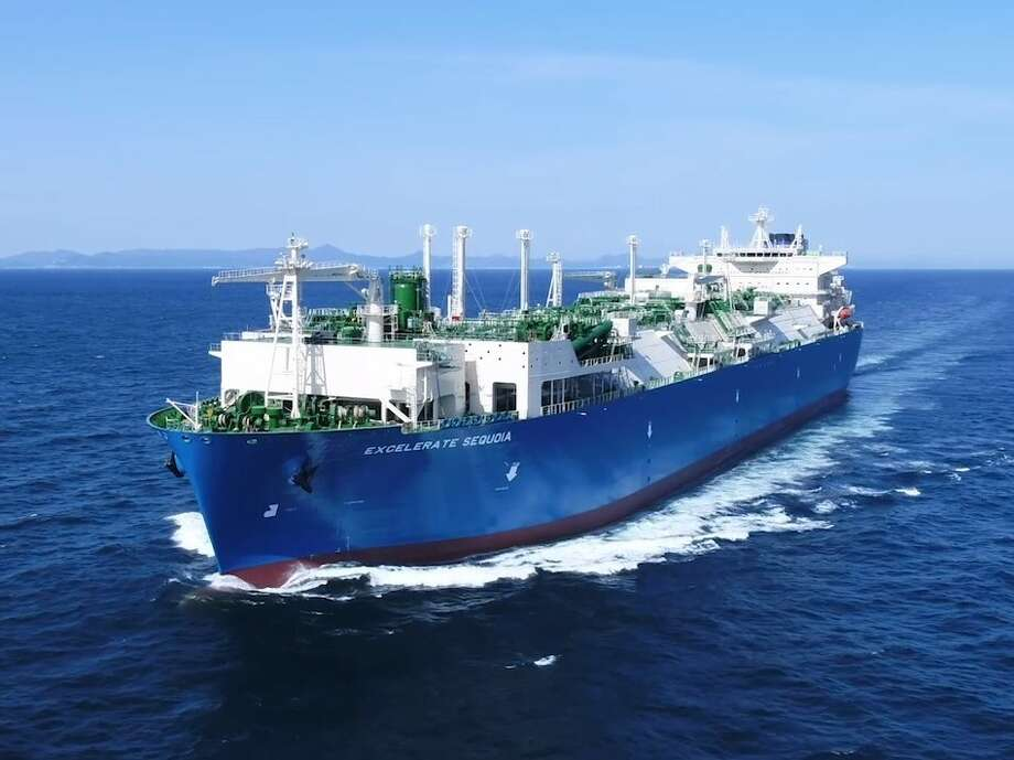 The Woodlands liquefied natural gas company Excelerate Energy debuted its 10th tanker that can be used as an offshore LNG import terminal at destinations around the world.  Photo: Excelerate Energy