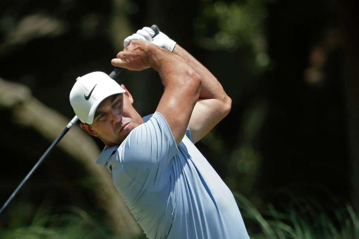 Brooks Koepka hits off the second tee during the final round of the RBC Heritage golf tournament, Sunday, June 21, 2020, in Hilton Head Island, S.C.