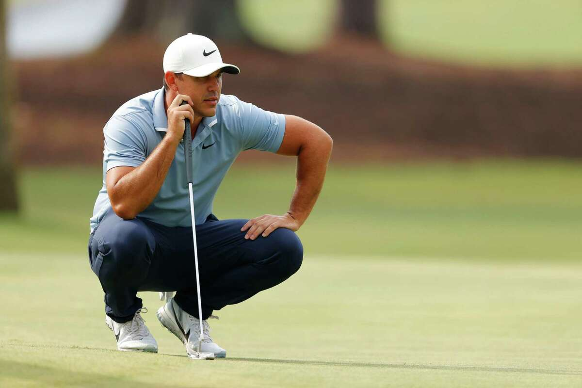 Brooks Koepka of the United States lines up a putt on the tenth green during the final round of the RBC Heritage on June 21, 2020 at Harbour Town Golf Links in Hilton Head Island, South Carolina.