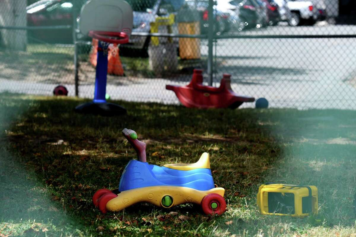 Children's toys are seen in outdoor play area at Samaritan-Rensselaer Children's Center on Wednesday, June 24, 2020, in Troy, N.Y. The daycare center announced that they will close on September 3 due to financial restraints caused by COVID-19. (Will Waldron/Times Union)