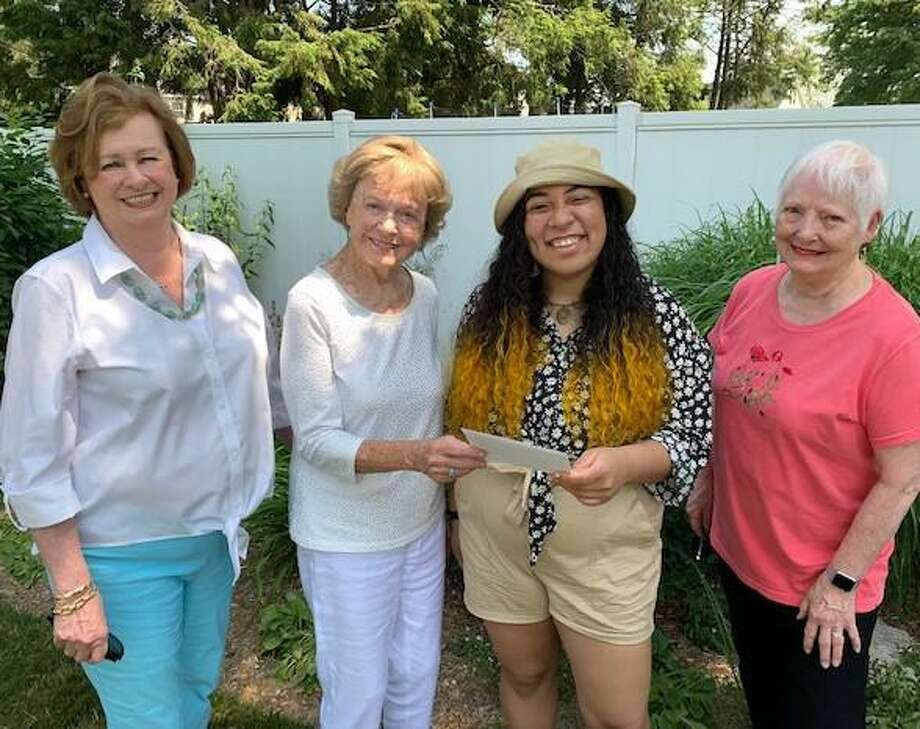 From left, Donna Gagnon, Co-President of the Greenfield Hill Garden The Club; Betty Horan, Co-Chair Scholarship; Mariah Rivera, Recipient; Eleanor Burke, Co-Chair Scholarship. Photo: Contributed Photo