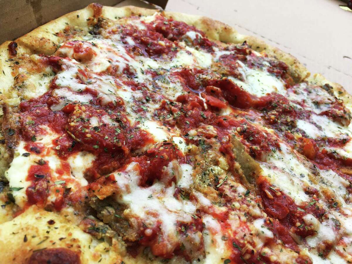 The eggplant parmigiana pizza at Miss Ellie's Pizza of New York.