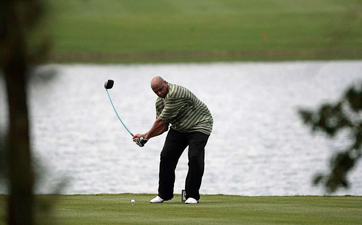 BIRMINGHAM, AL - MAY 14: Former basketball star Charles Barkley tees off on the fifth hole during the Thursday Pro-AM of the Regions Charity Classic at the Robert Trent Jones Golf Trail at Ross Bridge on May 14, 2009 in Birmingham, Alabama. (Photo by Dave Martin/Getty Images)