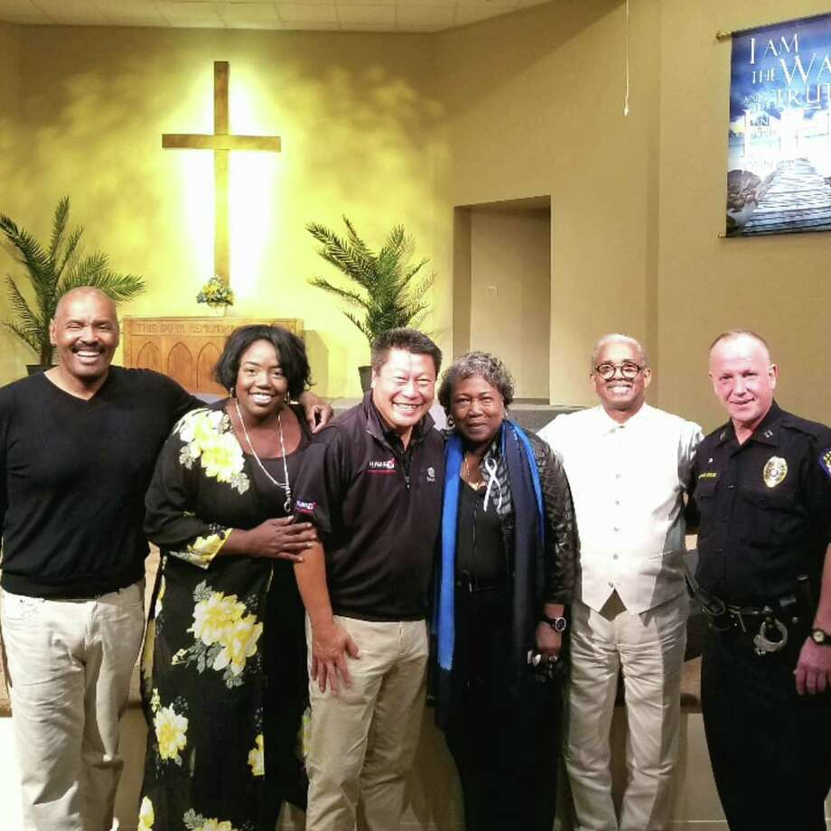 From left to right: Wiley Mullins, Alana Simmons (her grandfather, the Rev. Daniel Lee Simmons Sr., was murdered), state Sen. Tony Hwang, Polly Shepard (one of the two survivors in the study), the Rev. Anthony Thompson (his wife, Myra, who led the Bible Study was murdered) and then Easton Police Captain, now Police Chief, Richard Doyle in Easton, September, 2015. Photo: / Contributed Photo