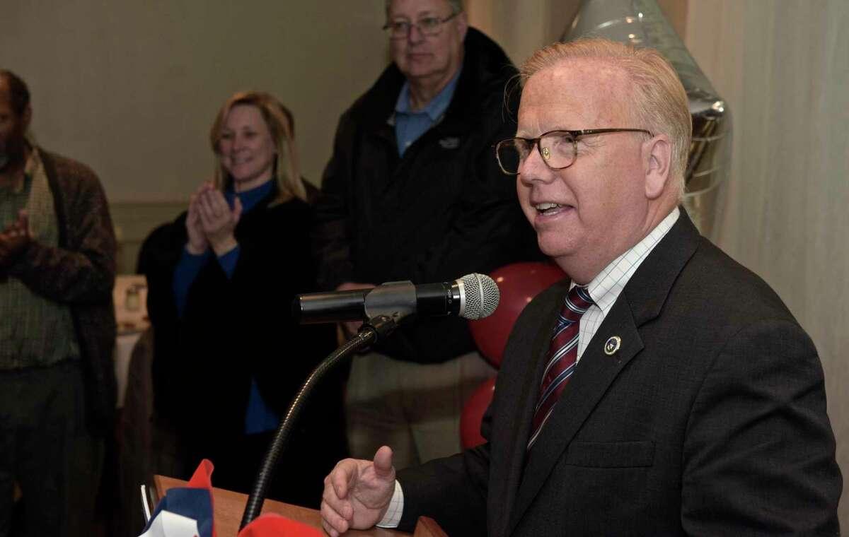 Danbury Mayor Mark Boughton talks to the crowd gathered at the Amerigo Vespucci Lodge on election night. Tuesday, November 7, 2017, in Danbury, Conn.