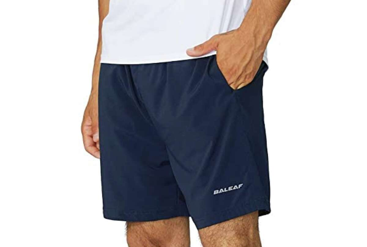 BALEAF Men's 5 Inches Running Athletic Shorts Zipper Pocket Price: $19.99 to $38.98 (Available in 29 styles) If you need a pair of lightweight men's shorts to stay dry during a long run, you'll want these BALEAF Men's 5 Inches Running Athletic Shorts Zipper Pocket. They have side pockets, plus a zipped pocket in the back that can safely store small belongings.