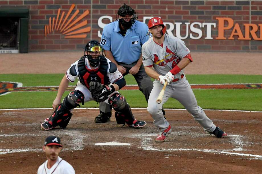 St. Louis Cardinals' Paul Goldschmidt singles in the fourth inning of Game 5 of their National League Division Series baseball game against the Atlanta Braves, Wednesday, Oct. 9, 2019, in Atlanta. (AP Photo/Danny Karnik) Photo: Danny Karnik, FRE / Associated Press / Danny Karnik