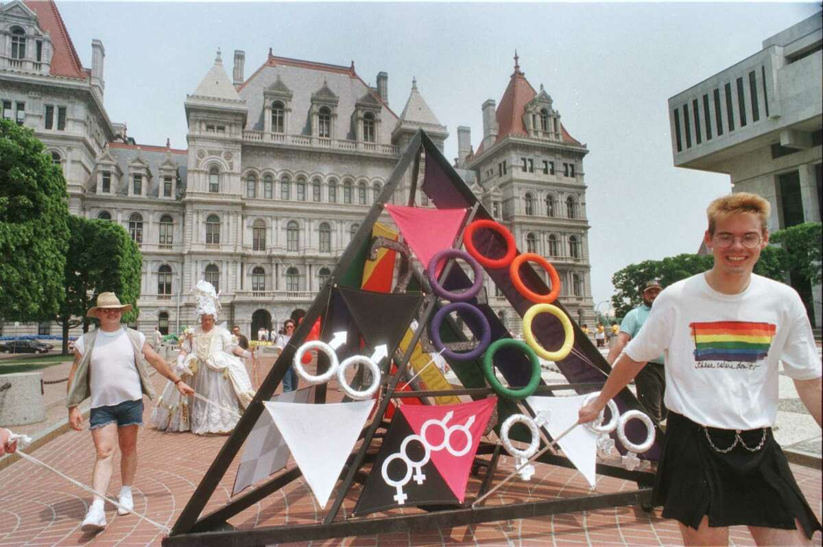 The Albany Gay Pride March and Rally started at Washington Park Lakehouse and proceeded down State St. to the Empire State Plaza for a rally on Saturday, June 21, 1997. (Luanne M. Ferris/Times Union)
