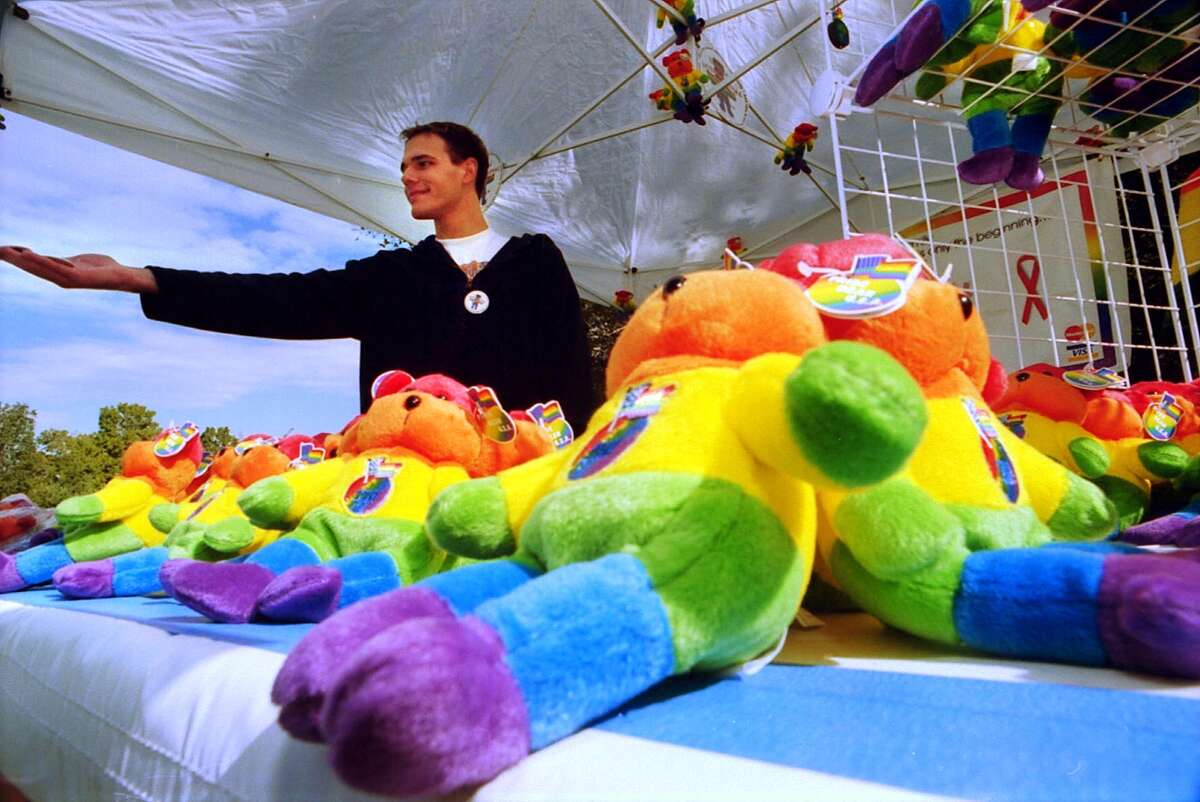 Bears of Albany (BOA) held its first Annual Pride Picnic on Sunday September 17, 2000 at Thacher Park in New Scotland, NY to benefit Unity House Youth Drop-In and the NY NAMES Project. Pictured at the bear display is Jamie Houle from Connecticut. (Stacey Lauren/Times Union)