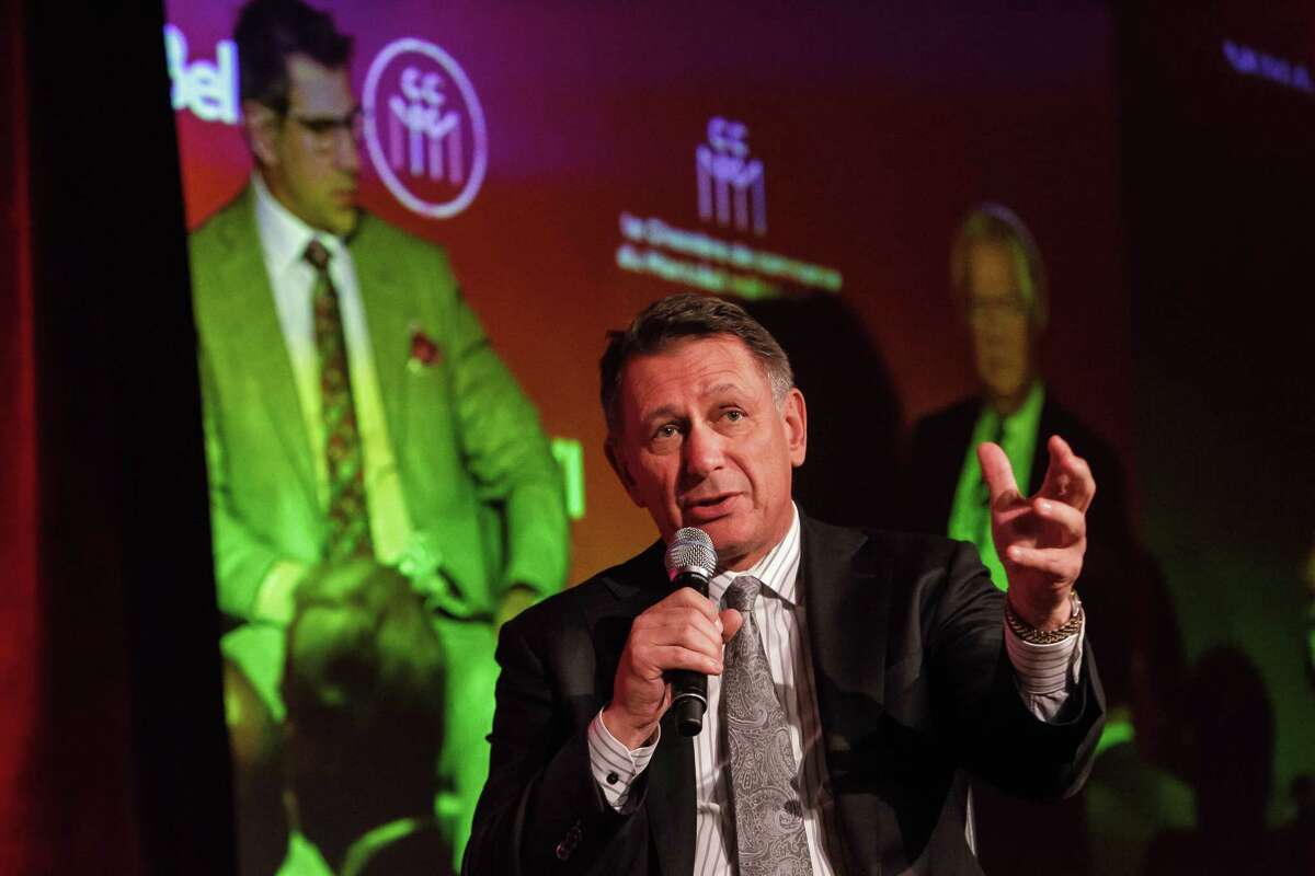 MONTREAL, QC - NOVEMBER 17: Detroit Red Wings general manager Ken Holland speaks during a Q&A with host Pierre Houde part of the NHL Centennial 100 Celebration on November 17, 2017 at Bonaventure Hotel on November 17, 2017 in Montreal, Canada. (Photo by Francois Laplante/FreestylePhoto/Getty Images) ORG XMIT: 775072434