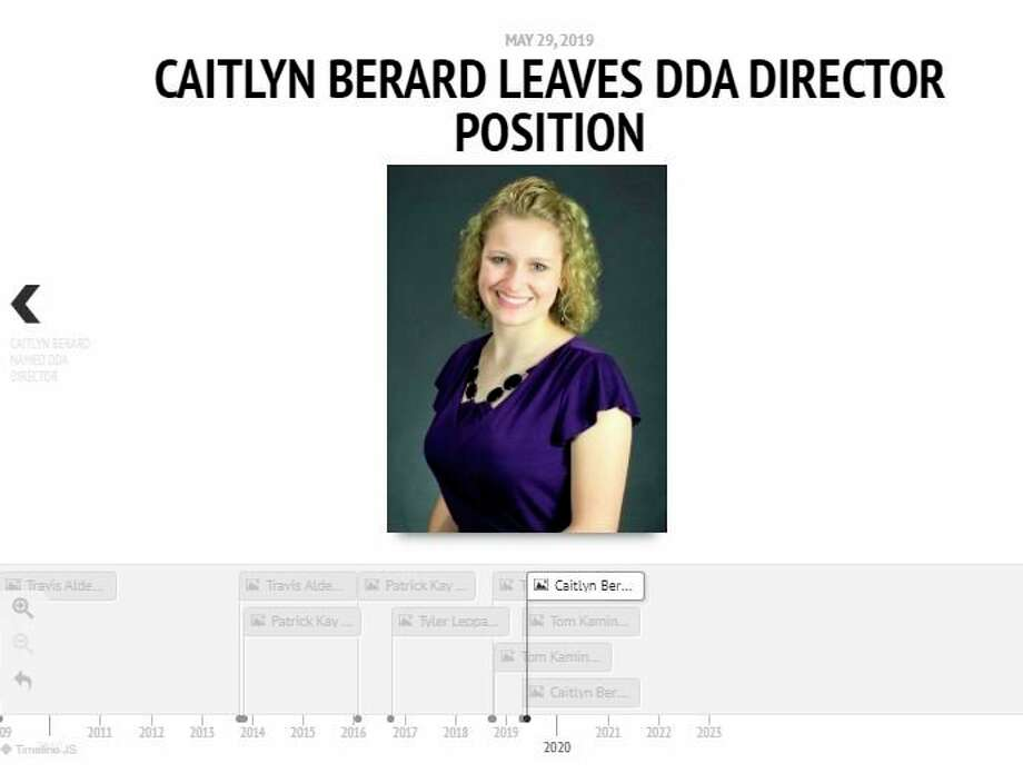This is a screenshot from the News Advocate's digital timeline on the last five Manistee DDA leaders' terms. (News Advocate image)