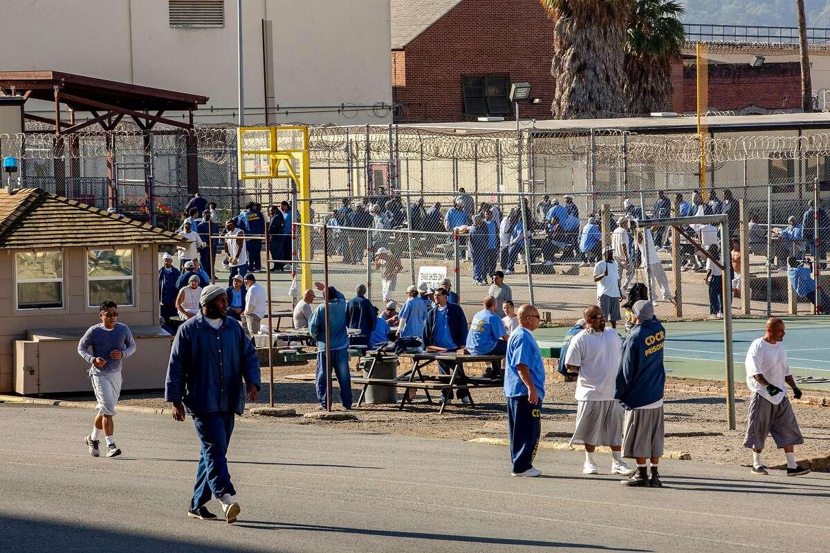 The prison yard as the San Quentin State Prison marathon is underway on Friday, Nov. 22, 2019, in San Quentin, Calif.