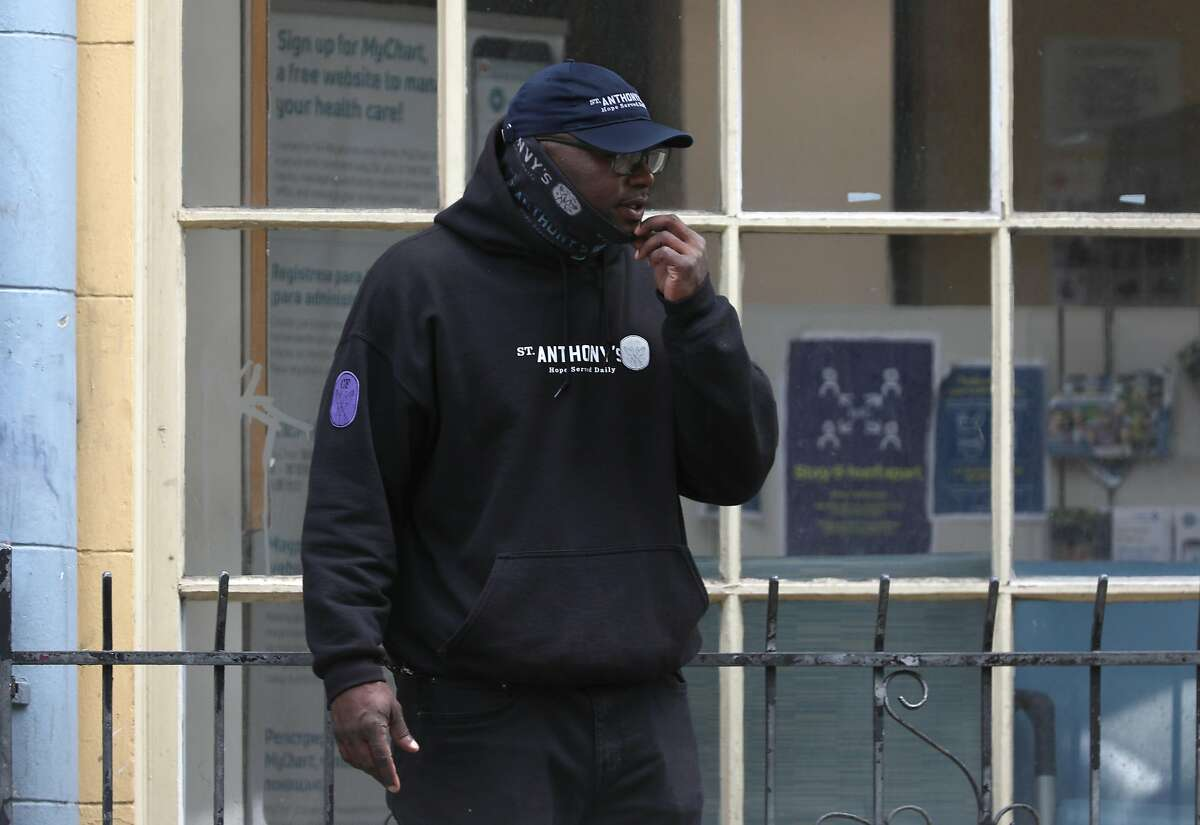 Willie Dudley who works for the St. Anthony�s Client Safety Services team can be seen in front of the Curry senior center on Tuesday, June 23, 2020, in San Francisco, Calif.