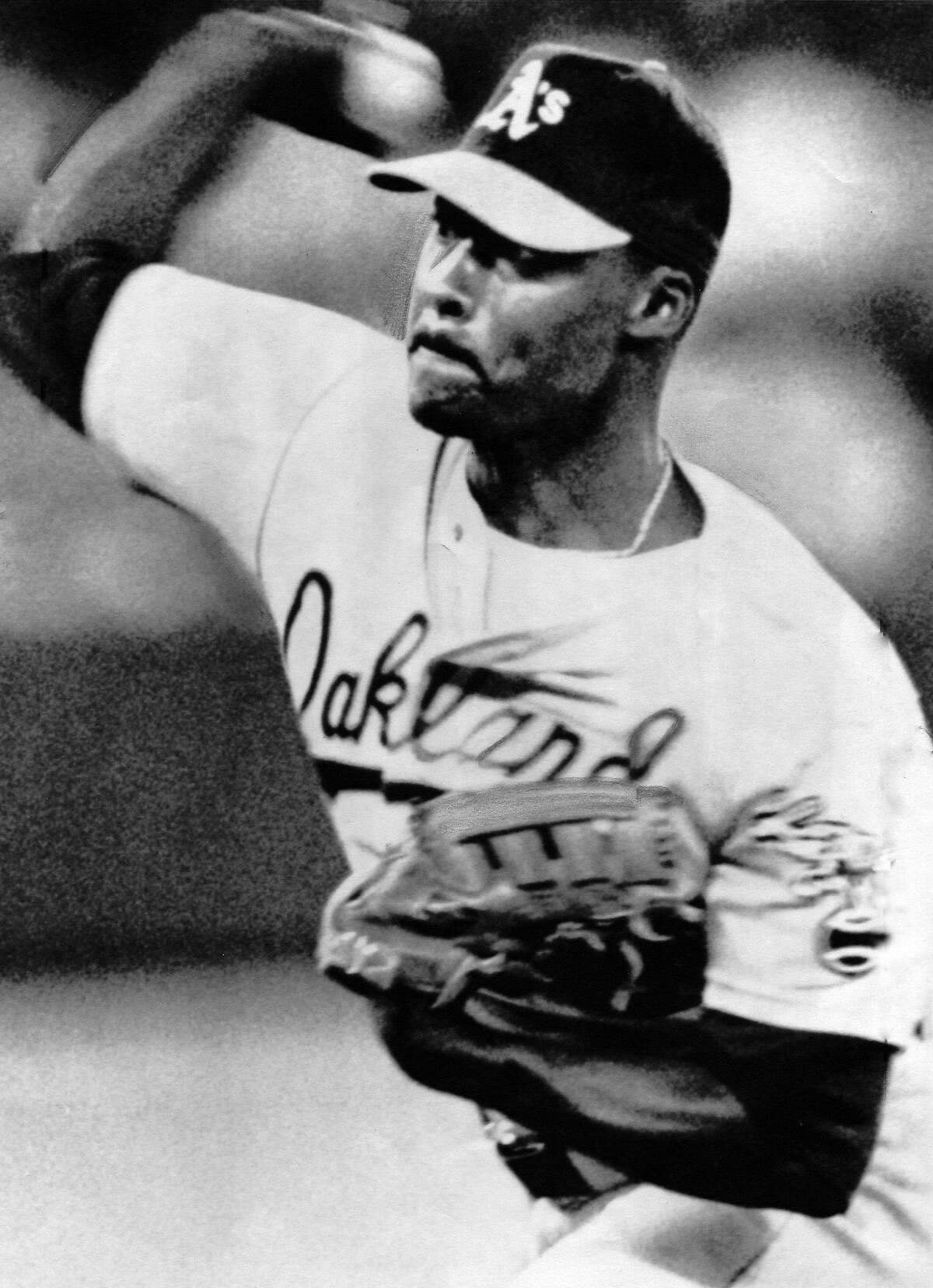 Oakland A's pitcher Dave Stewart pitches a no-hitter against the Toronto Blue Jays at the Skydome in Toronto on June 29, 1990. Chronicle file photo