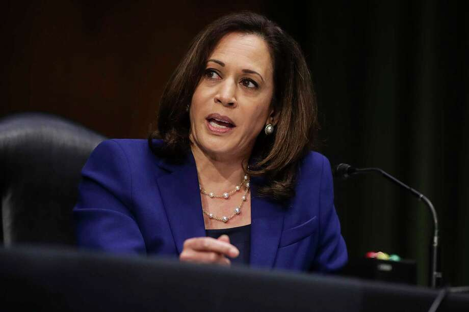 Sen. Kamala Harris, D-Calif., speaks during a Senate Judiciary Committee hearing on police use of force and community relations on on Capitol Hill, Tuesday, June 16, 2020 in Washington. (Jonathan Ernst/Pool via AP) Photo: Jonathan Ernst, AP / Pool Reuters