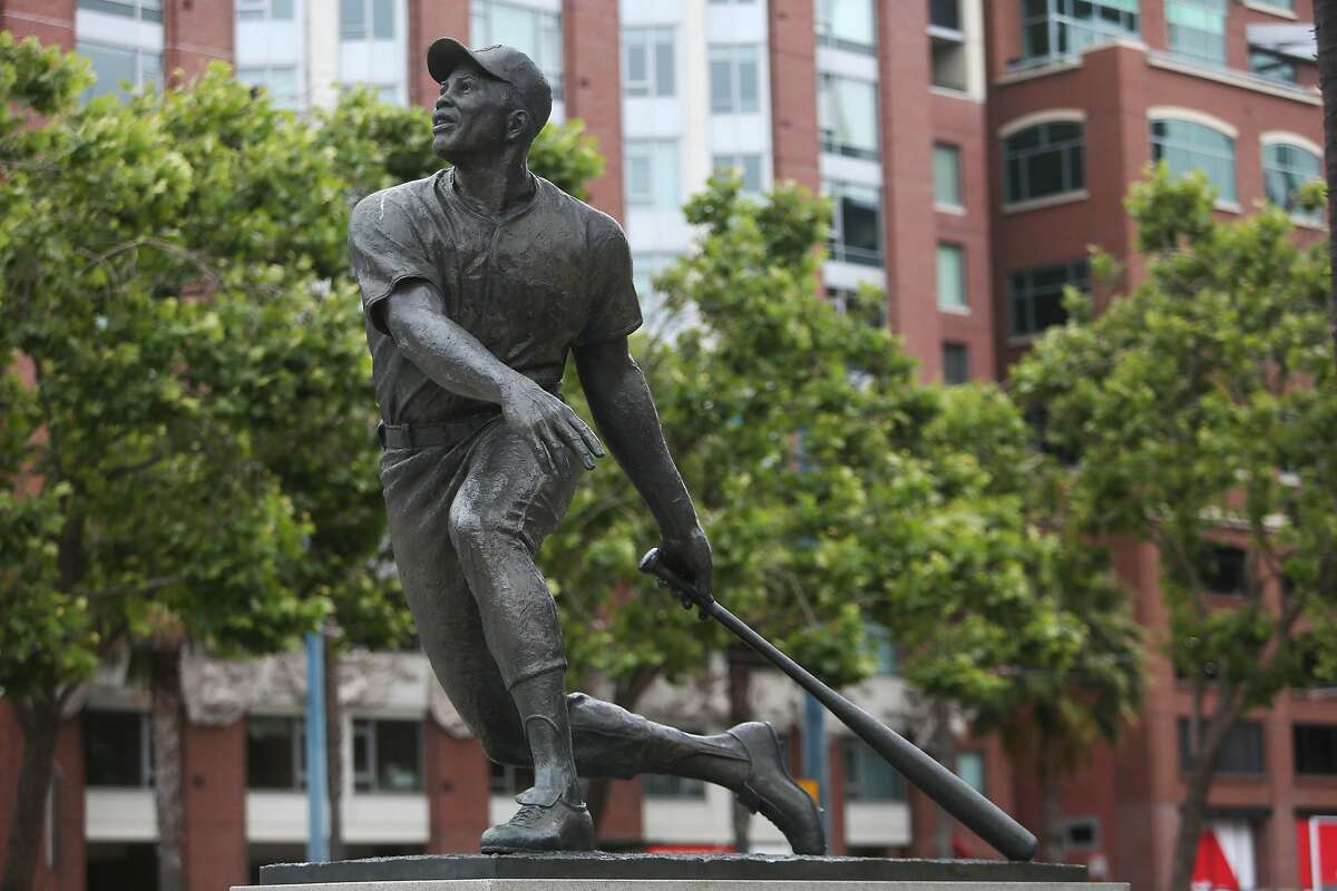 A statue of Willie Howard Mays, Jr. is seen at Oracle Park on Wednesday, June 24, 2020 in San Francisco, Calif.