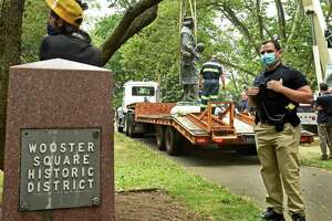 The statue of Christopher Columbus was removed from Wooster Square park in New Haven June 24, 2020.
