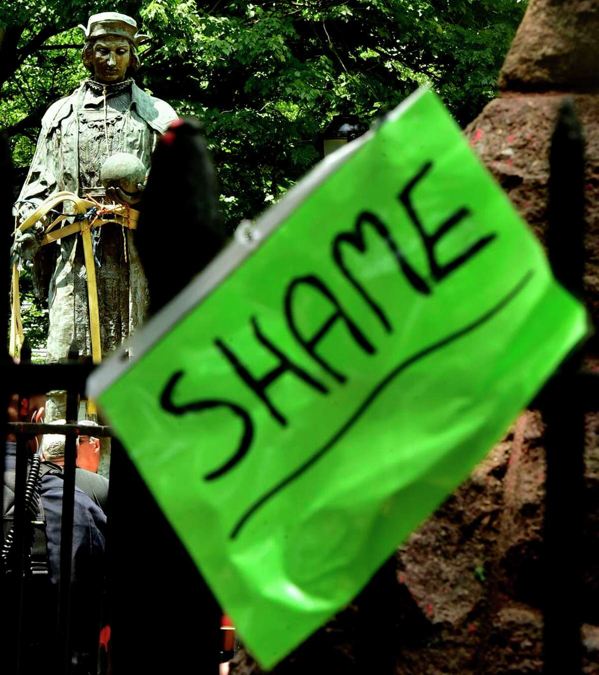 The statue of Christopher Columbus was removed from Wooster Square park June 24, 2020 hours after a skirmish erupted early in the morning between people of opposing viewpoints.