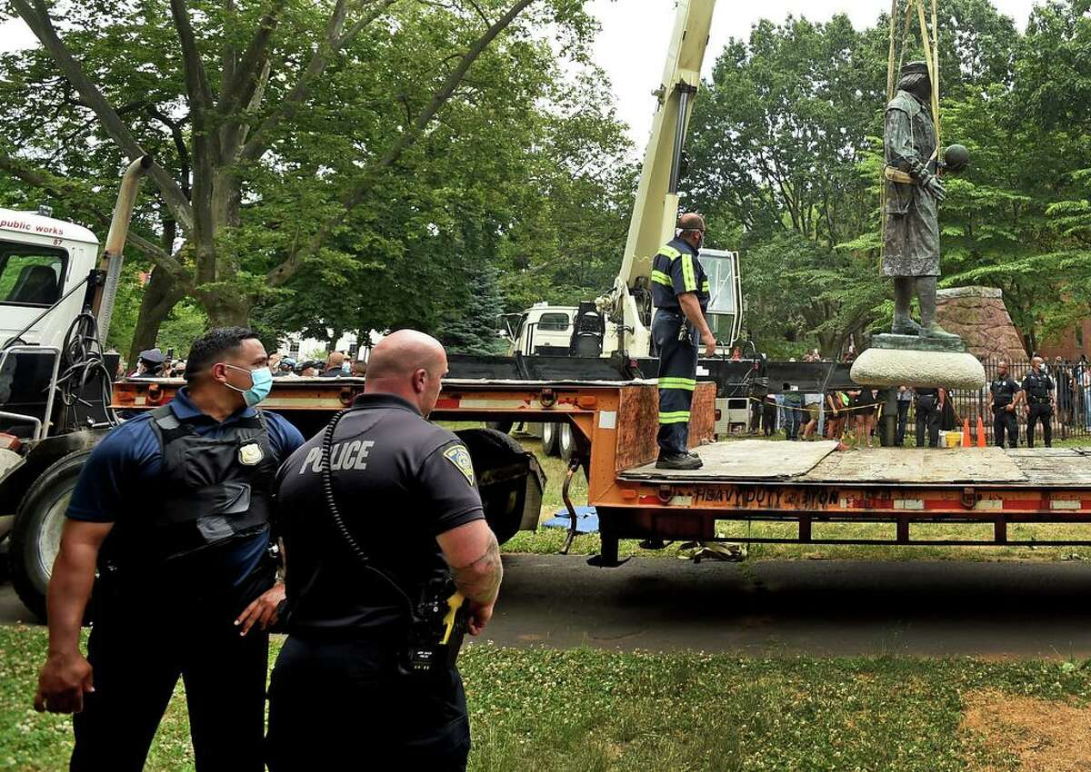 The statue of Christopher Columbus was removed from Wooster Square park hours after a skirmish erupted June 24, 2020 between people of opposing viewpoints. Later, with a large police presence, hundreds of people gathered to watch the removal of the monument and demonstrate against racism. The statue holds deep ties to the Italian-American community, as it was first erected in 1892, and later recast in bronze in 1955. Prior to the statue's removal, protesters for and against the statute removal demonstrated.