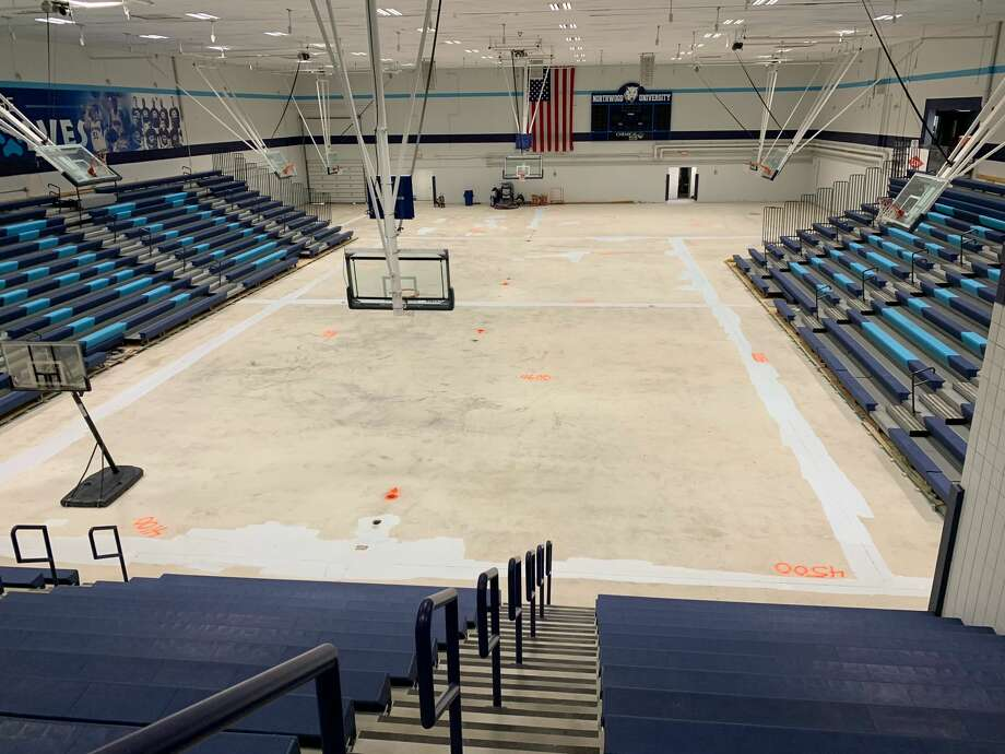 A look at Northwood's Riepma Arena a month after flooding ruined the gym floor. Photo: Fred Kelly/fred.kelly@mdn.net