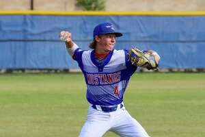 Midland Christian shortstop Cody Grebeck throws the ball during a baseball game. Photo courtesy of Dana Marsh