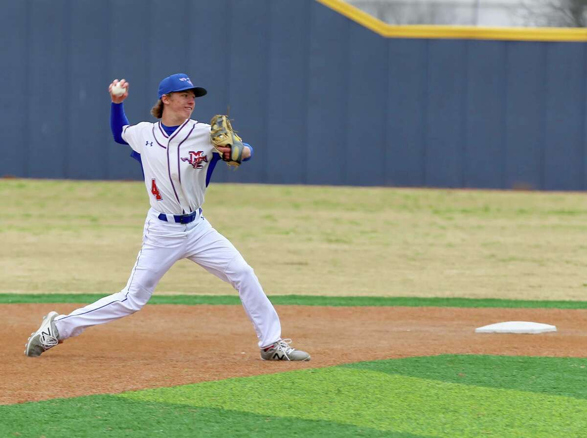Midland Christian shortstop Cody Grebeck throws the ball to first during a baseball game. Photo courtesy of Dana Marsh