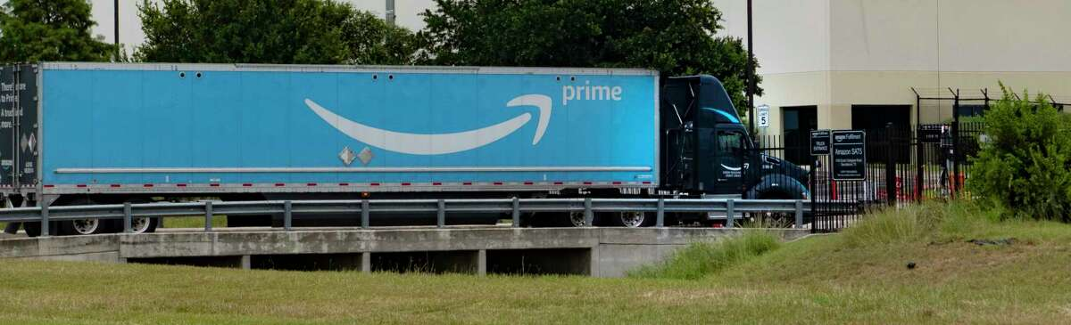 A truck enters the Amazon facility on South Callaghan Road on Tuesday, June 23, 2020. Many are concerned about the number of Covid-19 cases at the various area Amazon facilities.