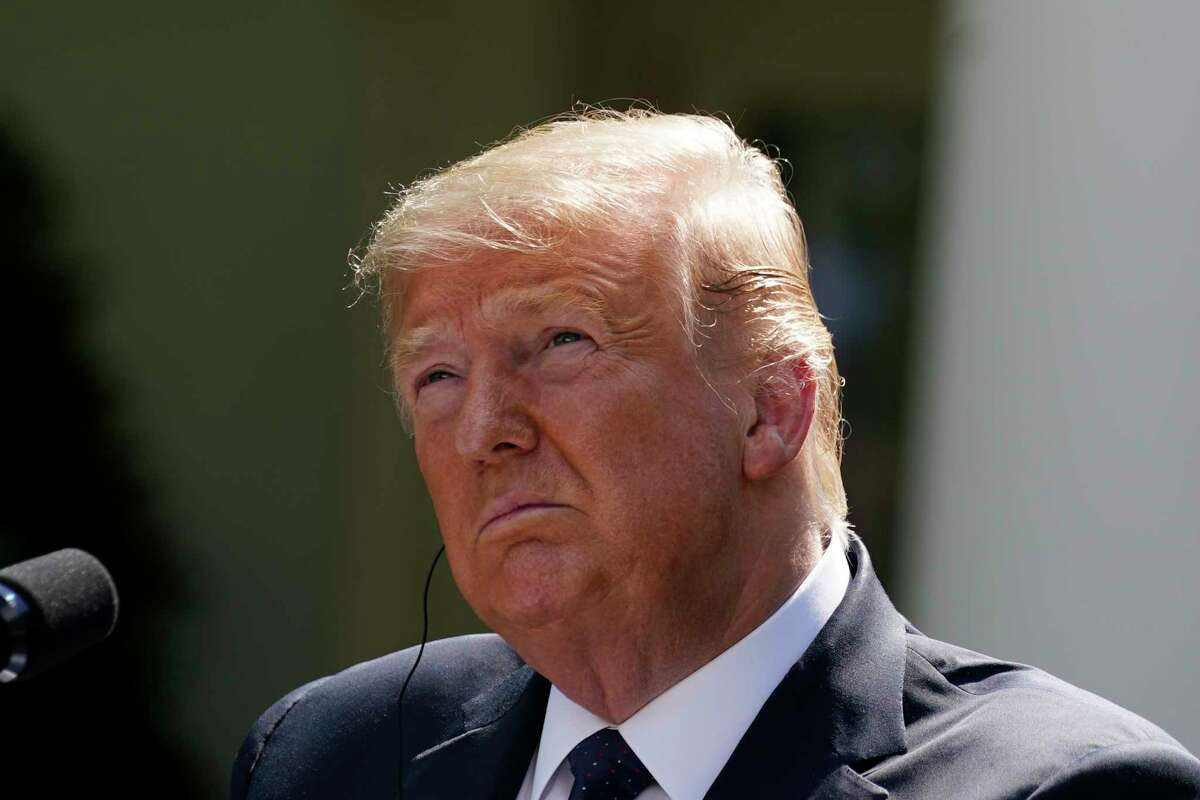 President Donald Trump listens during a news conference with Polish President Andrzej Duda in the Rose Garden of the White House, Wednesday, June 24, 2020, in Washington.