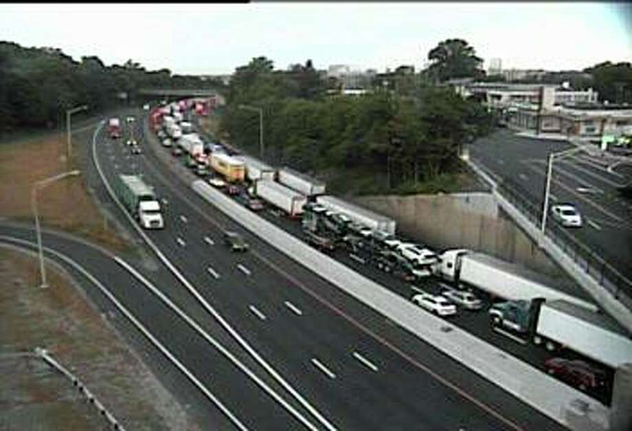 Southbound traffic on I-95 in Stamford is crawling on Thursday, June 24, 2020 after emergency road work on a bridge closed two lanes. Photo: Traffic Cam