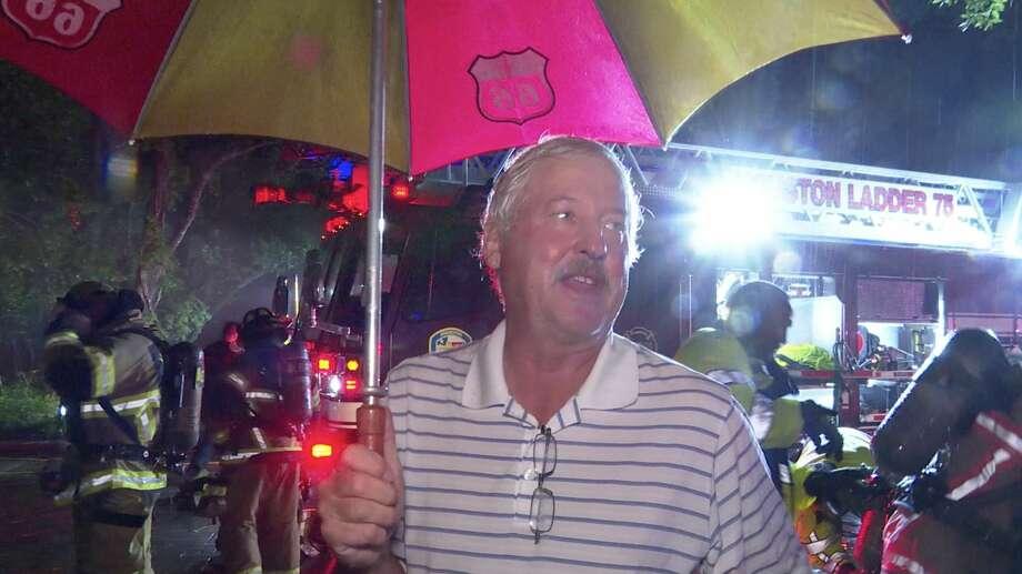 Steve Gast describes a fire inside his house in the 1200 block of Provident Oaks Lane after a lightning strike Thursday, June 25, 2020. Photo: OnScene.TV