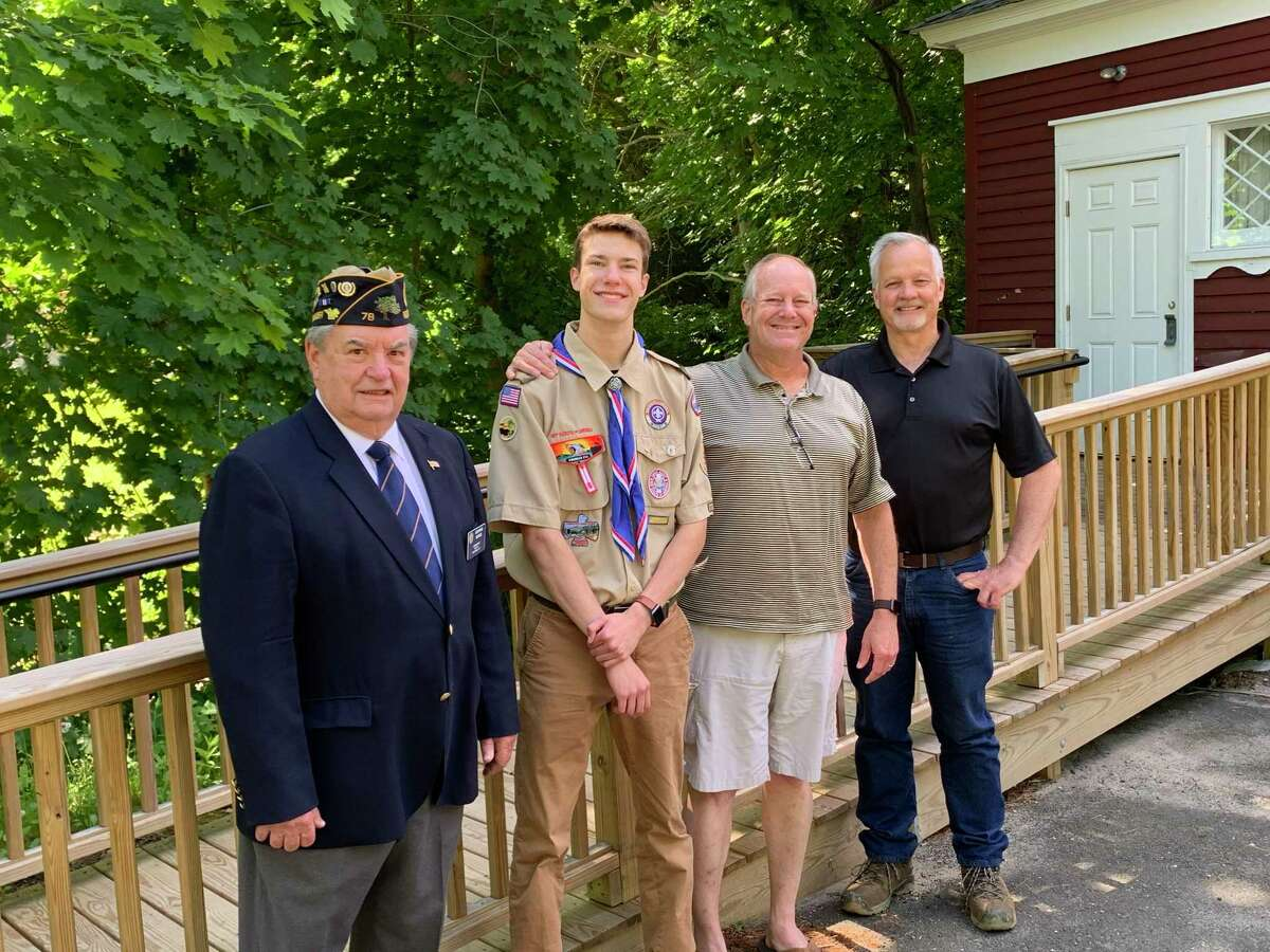 American Legion Post Commander George Besse, Eagle Scout Stephen Nazworth and scoutmasters Bryan Nazworth and Brian Stumph by the new ramp at Legion Hall on North Salem Road.
