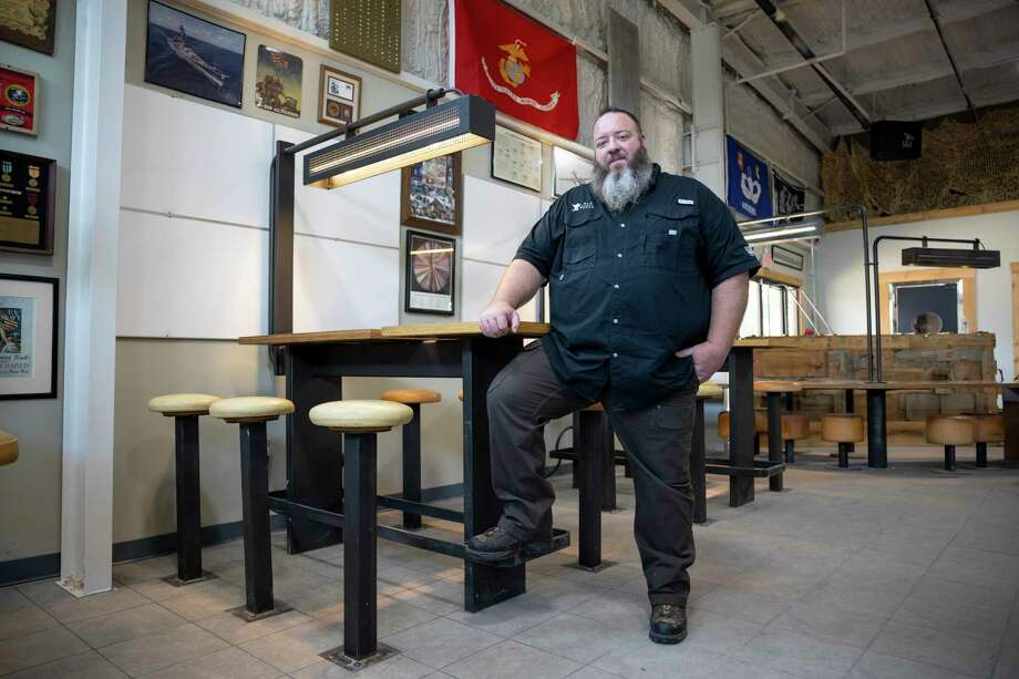 Chris Sadler poses for a portrait at his Honor Café near downtown Conroe, Wednesday, June 17, 2020. Sadler has planned for the opening of the new veteran themed restaurant for two years. Photo: Gustavo Huerta, Houston Chronicle / Staff Photographer / Houston Chronicle © 2020