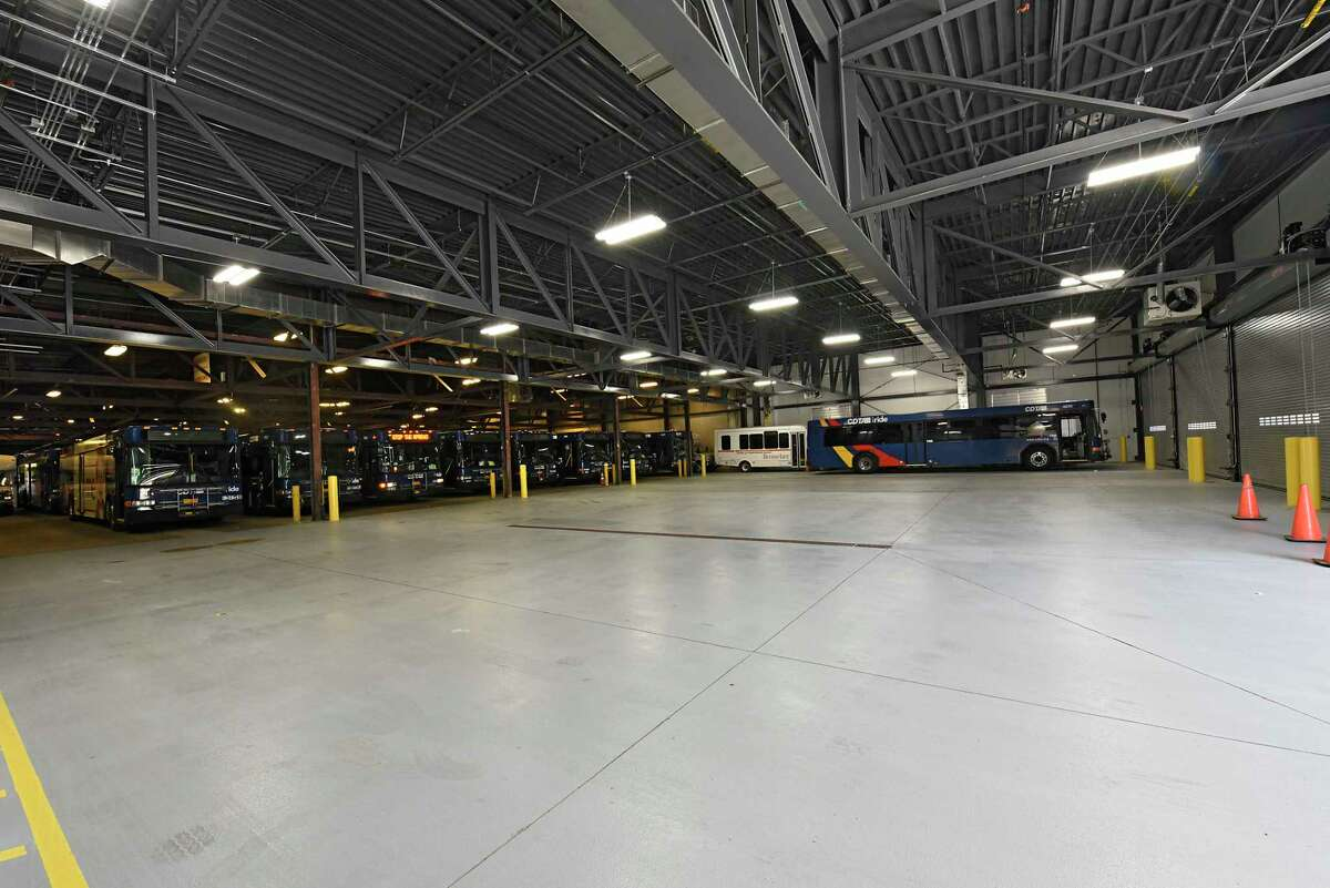The new expansion work is seen at the bus garage as CDTA prepares for the introduction of its new Bus Rapid Transit Blue Line on Thursday, June 25, 2020 in Troy, N.Y. The older part of garage is seen at left where many buses are parked. The new line will serve riders along the Hudson River between Albany, Troy and Waterford. (Lori Van Buren/Times Union)