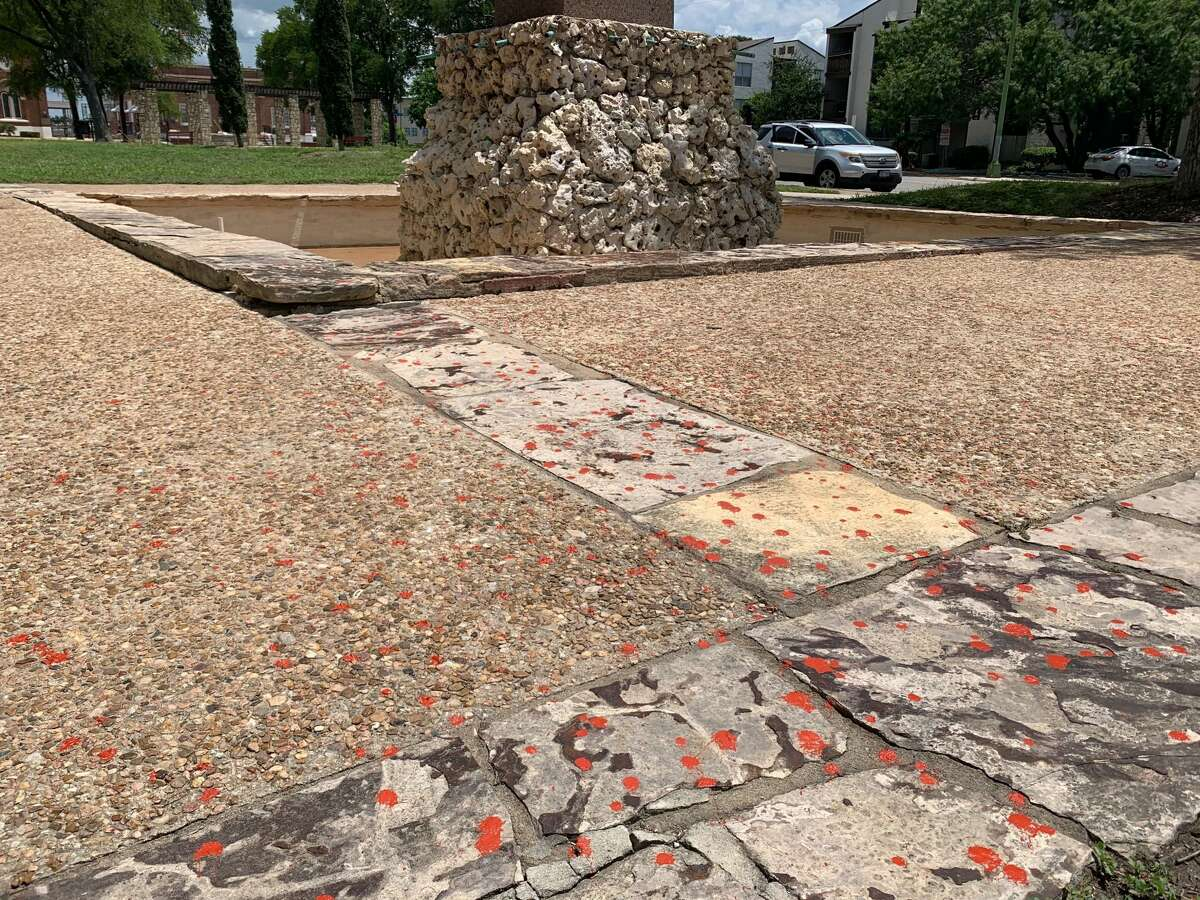 The Christopher Columbus statue in San Antonio has been vandalized with red paint.