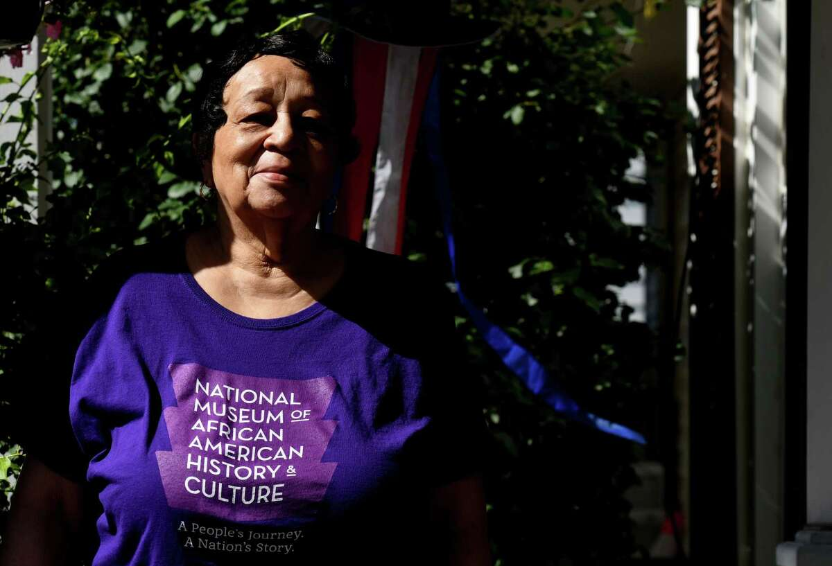 Mildred Mason, 84, who marched with Martin Luther King Jr. in 1963, is pictured outside her house on Thursday, June 25, 2020, in Schenectady, N.Y. (Will Waldron/Times Union)