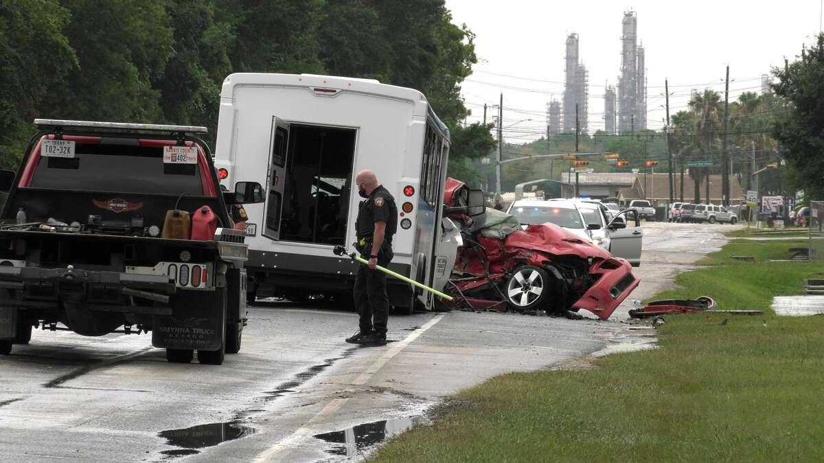 Harris County sheriff's deputies investigate a deadly crash involving a Harris County Transit bus on Sheldon Road on Thursday, June 25, 2020.