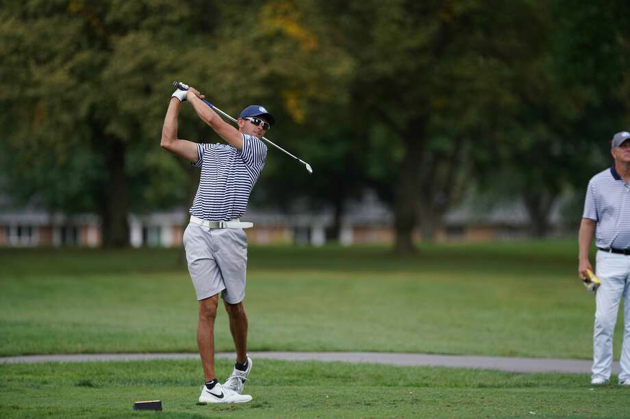 Cam Lippoldt tees off while competing for Northwood University at an unspecified tournament. Photo: Timberwolves.gonorthwood.com